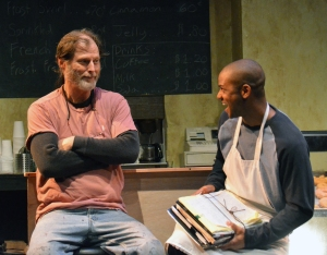 "Don Wood as Arthur Przbyszeski and Chris Marsol as Franco Wicks in Custommade's production of Tracy Letts' ""Superior Donuts"". Photo Credit: Jay Yamada."