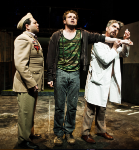 "Anthony Nemirovsky as the Captian, Alex Crowther as Woyzeck and Kevin Clark as the doctor in ""Woyzeck"" at Shotgun Players. Photo Credit: Jessica Palopoli"