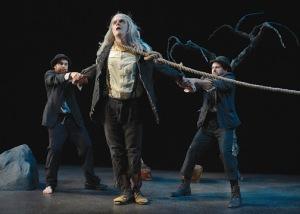 "Mark Anderson Phillips (Estragon), Ben Johnson (Lucky) and Mark Bedard (Vladimir) in Samuel Beckett's ""Waiting for Godot"". Photo Credit: Kevin Berne."