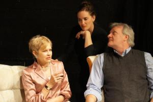 "Linden Young as Agnes, Rachel Klyce as Claire and Christian Phillips as Tobias in Actors Theatre of San Francisco's production of Edward Albee's ""A Delicate Balance"". Photo credit: Actors Theatre of SF."