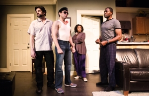 "Gabriel Marin as Jackie, Rudy Guerrero as Cousin Julio, Margo Hall as Victoria and Carl Lumbly as Ralph D. in ""The Motherf**ker With The Hat"" at San Francisco Playhouse. Photo credit: SF Playhouse."