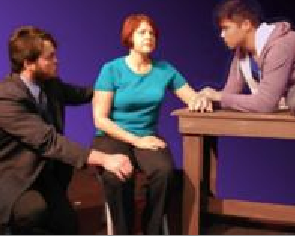 "(from l to r) Alex Bronte as Dan, Lisa-Marie Newton as Diana and Brian Dauglash as Gabe in ""Next To Normal"". Photo credit: Pinole Community Players."