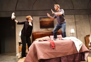 "Live-in couple Greg (Craig Marker, left) and Steph (Lauren English) fight when she learns he described her looks as ""regular"" in Neil LaBute's ""Reasons To Be Pretty"" at SF Playhouse. Photo Credit: Jessica Palopoli"