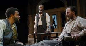 "Tobie Windham as John, L. Peter Callendar as Simon and Nicholas Pelczar as Caleb in ""The Whipping Man"". Photo credit: Marin Theatre Company."