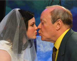 Richard Wenzel as the Old Man and Allison Page as Rita share a mysterious kiss . Photo Credit: Jay Yamada