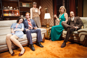 "The cast of ""Abigail's Party"" from l to r: Allison Jean White as Angela, Patrick Kelly Jones as Tony, Julia Brothers as Sue, Susi Damilano as Bev and Remi Sandri as Laurence. Photo Credit: Jessica Palopoli."