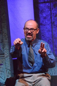 """A brilliant Clive Worsley as the eccentric Beeson in Just Theater's west coast premiere of Ron Handel's """"A Maze"""". Photo Credit: Just Theater."""