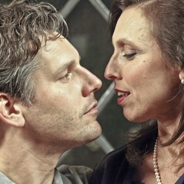 "Tim Redmond and Deb Fink in ""Pitch Perfect"" at Central Works. Photo Credit: Central Works."