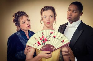 Stacy Ross (Mrs. Erlynne), Emily Kitchens (Lady Windermere), and Aldo Billingslea (Lord Windermere) in Cal Shakes' production of Lady Windermere's Fan by Oscar Wilde, directed by Christopher Liam Moore. Photo Credit: Kevin Berne.