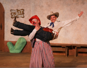 "Patrick Russell and Jon Deline in ""A Comedy of Errors"" at Marin Shakespeare Company. Photo Credit: Eric Chazankin."