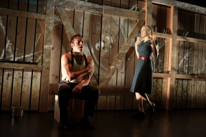 "Joe Estlack and Megan Trout as Bonnie & Clyde in the brilliantly acted and choreographed ""Bonnie and Clyde"" at Shotgun Players. Photo Credit: Pak Han."