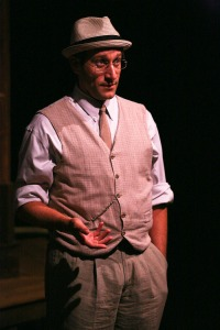 "Jeff Coté gives a gem of a performance as The Narrator in Cinnabar Theater's fine production of Craig Wright's ""Th Pavilion"". Photo Credit: Eric Chazankin."