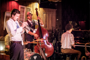 """Philip Watt as Chet Baker (with Doug Lee and Michael Parsons) in """"Chetty's Lullaby""""."""