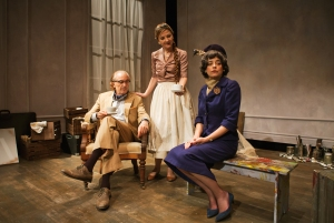Bauer (Ronald Guttman) and wife Louise (Susi Damilano) attempt civility by offering tea to Hilla (Stacy Ross).