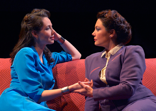 "Things get steamy between The Amazon (Liz Sklar) and The Wife (Jessa Brie Moreno) in Marin Theatre Company's world premiere production  of Carson Kreitzer's ""Lasso of Truth"". Photo Credit: Kevin Berne."