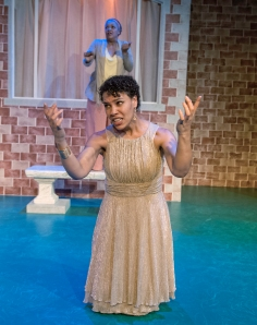 Cathleen Riddley as Nurse (back) and Leontyne Mbele-Mbong as Media (front) in African American Shakespeare's modern dress production of the classic Greek tragedy. (Photo credit: Lance Huntley.)