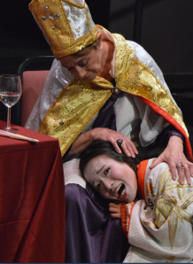 "Monica Cappuccini as Pope Joan comforts Mimu Tsujimura as Lady Nijo in Customade Theatre's revival of Caryl Churchill's ""Top Girls"". Photo Credit: Jay Yamada."