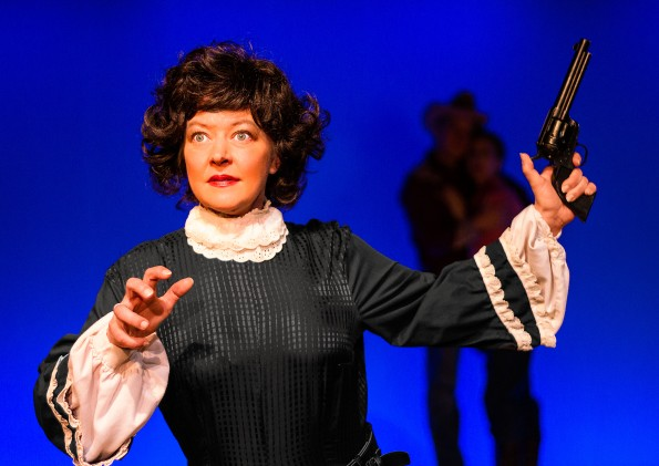 "Michelle Pond as Emma sends up Mercedes McCambridge in ""Johnny Guitar: The Musical"" at Masquers Playhouse. Photo credit: Budinger & Scarpelli"