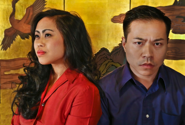 """Carina Lastimosa as Salazar as Meimei and Will Dao as Jian Wan in """"The Crazed"""", a world premiere at Central Theater Works. Photo Credit: Jim Norrena."""