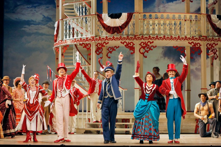 "(from l to r) Kirsten Wyatt as Ellie Mae Chipley, John Bolton as Frank Schultz, Bill Irwin as Cap'n Andy, Patricia Racette as Julie La Verne, and Patrick Cummings as Steve Baker in San Francisco Opera's production of ""Show Boat"". Photo Credit: Cory Weaver/San Francisco Opera"
