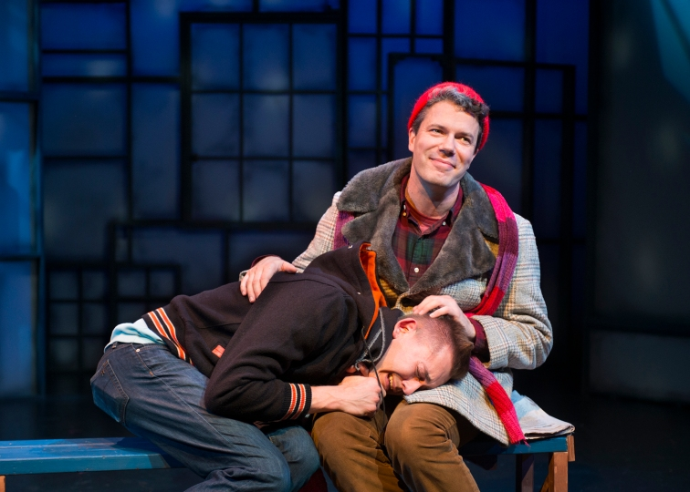 "Robert Rushin (l) and Mat Weimer (R) as Evan and Peter in New Conservatory Theatre Center's production of Philip Dawkins' ""The Homosexuals"". Photo Credit: Lois Tema."