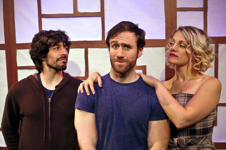 "Nick Trengove as Patrick (center) tries to find a design for living that will accomodate both his lover Byron (Dan Kurtz, left), and his girlfriend Rebecca (Mikka Bonel, right) in ""Everybody Here Says Hello"", a world premiere by Stuart Bousel, presented by Wily West Productions. (Photo credit: Wily West)"