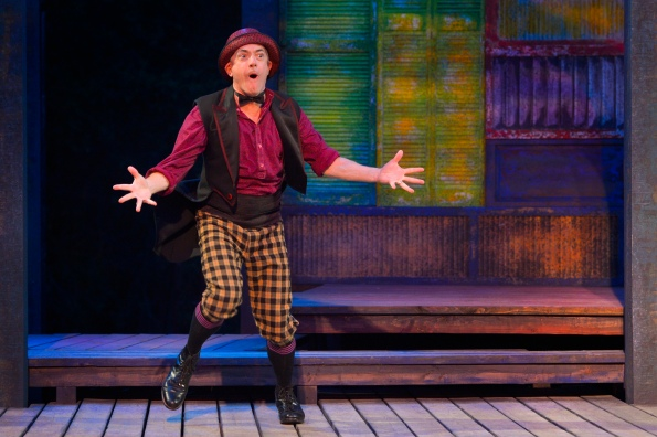 "Danny Scheie as Dromio in Cal Shakes' ""The Comedy of Errors"". Photo Credit: Kevin Berne."