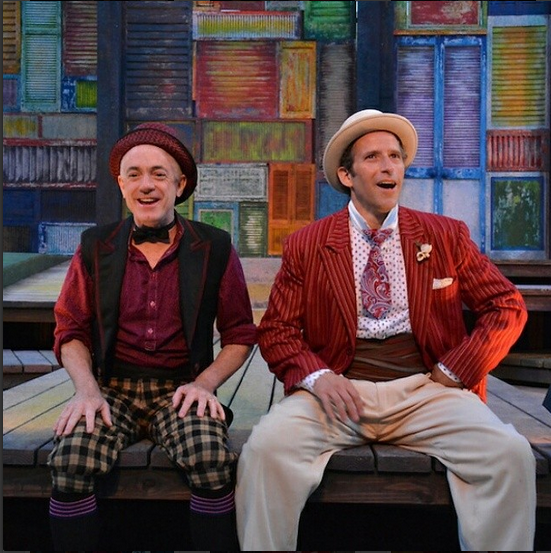 (from l to r) Danny Scheie and Adrian Danzig as Dromio and Antipholus.