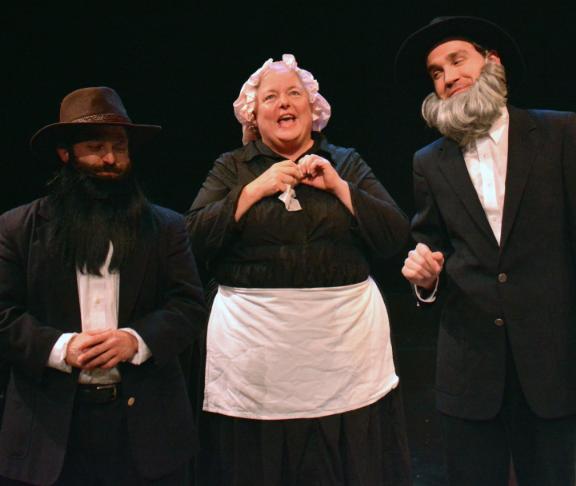 Brother Nathaniel (Stefin C0llins), Sister Elizabeth (AJ Davenport) and the Reverend Tollhouse (Justin Gillman). Photo Credit: Jay Yamada.