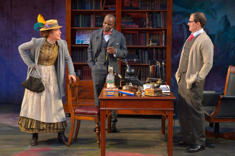 "Eliza Doolittle (Irene Lucio), Colonel Pickering (L. Peter Callander), and Professor Henry Higgins (Anthony Fusco) in ""Pygmalion"" at CalShakes. Photo Credit: Kevin Berne."