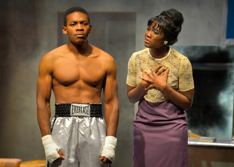 "Eddie Ray Jackson as Mohammed Ali and Katherine Renee Turner as Sonji Clay in Marin Theatre Company's production of ""Fetch Clay, Make Man"". Photo Credit: Kevin Berne."