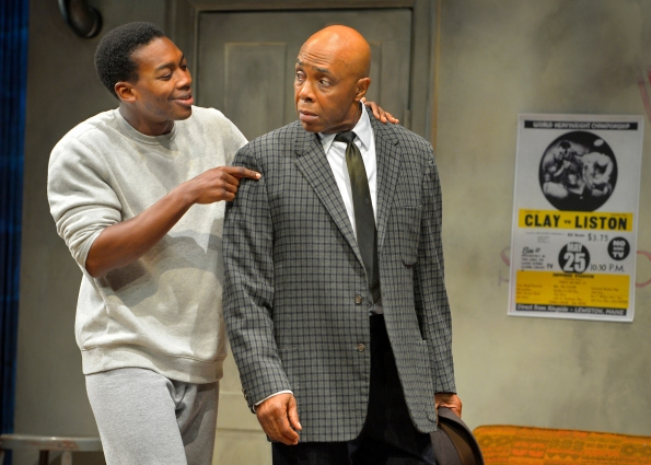 "Eddie Ray Jackson as Mohammed Ali and Roscoe Orman as Stepin Fetchit in Marin Theatre Company's production of ""Fetch Clay, Make Man"". Photo Credit: Kevin Berne."