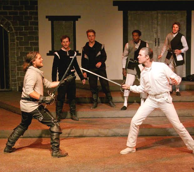 (from l to r) Mercutio (Jackson Currier) challenges Tybalt (Teddy Spencer). Photo Credit: