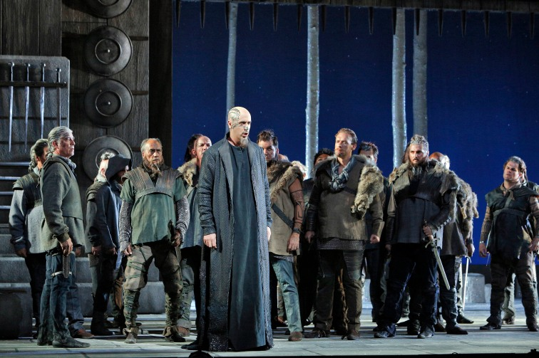 "Christian Van Horn as Druid leader Oroveso, with the San Francisco Opera Chorus, in ""Norma"". Photo Credit: Cory Weaver."