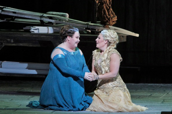 Jamie Barton as Adalgisa and Sondra Radvanovsky as Norma together scale the heights of bel canto artistry. Photo Credit: Cory Weaver.
