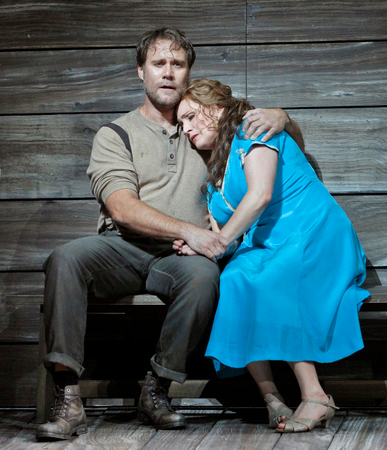Brandon Jovanovich as Sam Polk and Patricia Racette as Susannah Polk. Photo Credit: Cory Weaver/San Francisco Opera