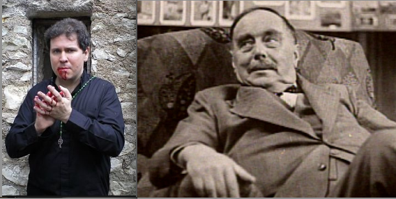 """Charles P. Sites (left) brings H. G. Wells' (right) disturbing """"Island of Dr. Moreau' to bloody life."""
