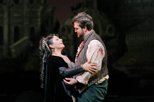 Lianna Haroutounian as Tosca and Brian Jagde as Cavaradossi. Photo Credit: Corey Weaver.