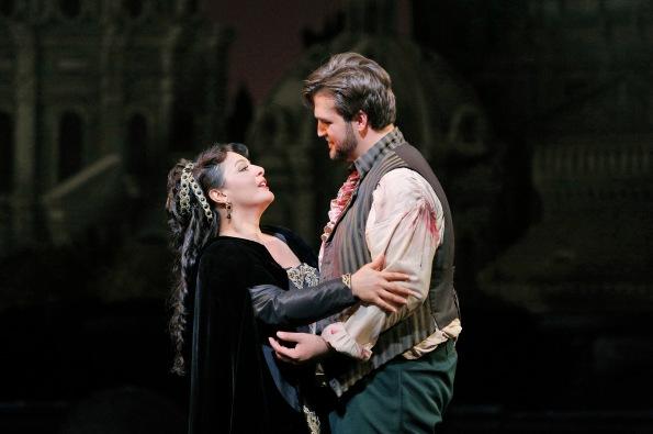 Lianna Haroutounian as Tosca and Brian Jagde as Cavaradossi. Photo Credit: Corey Weaver.