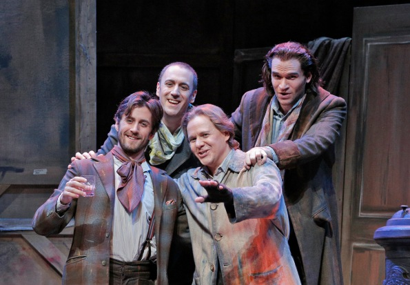 From L to R:  Hadleigh Adams as Schaunard, Christian Van Horn as Colline, Alexey Markov as Marcello, and Michael Fabiano as Rodolfo. Photo Credit: Corey Weaver.