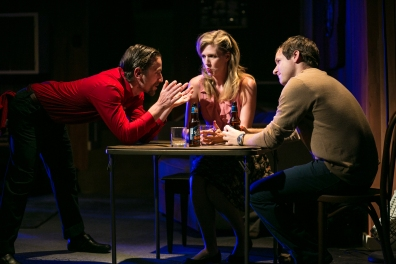 (From L to R: Harold Pierce as Damian, Sarah Moser as Carrie, and Seton Brown as Alex. Photo Credit: Cheshire Isaacs)