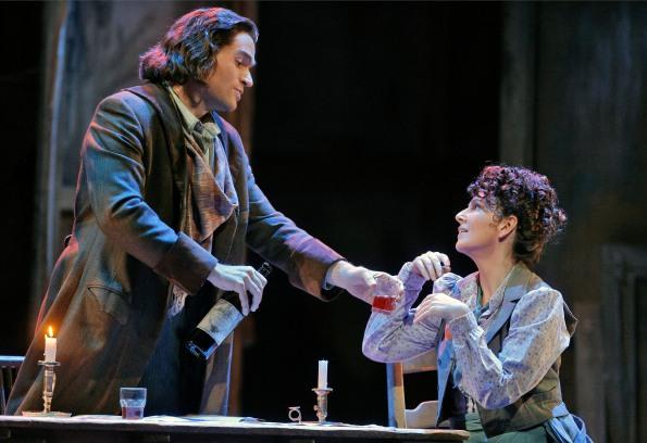"Michael Fabiano as Rodolfo and Alexia Voulgaridou as Mimi in Sf Opera's ""La Bohème"". Photo Credit: Cory Weaver"