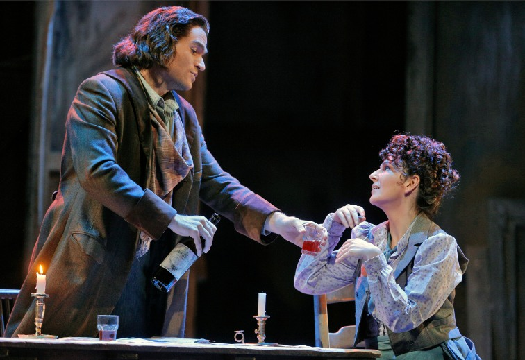 "Michael Fabiano as Rodolfo and Alexia Voulgaridou as Mimi in Sf Opera's ""La Bohème"". Photo Credit: Cory Weaver"