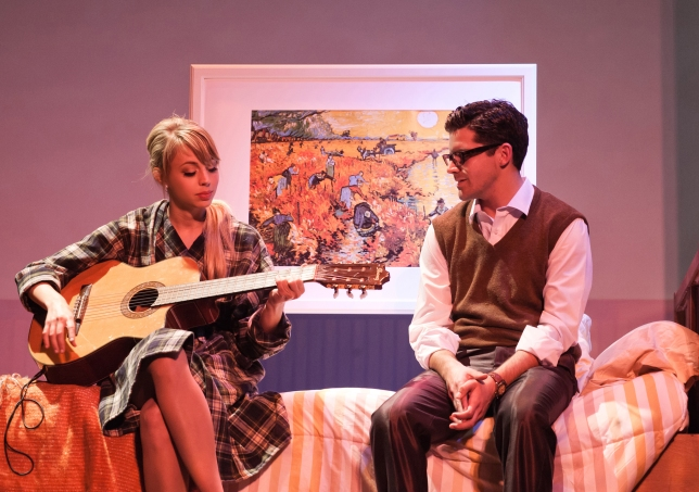 "Monique Hafen as Fran Kurbelik and Jeffrey Brian Adams as Chuck Baxter in ""Promises, Promises"". Photo Credit:"