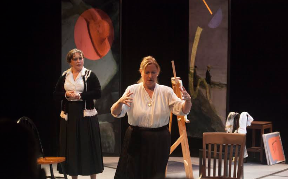 """From L to R: Terssa Byrne as Lise Meitner and Janet Keller as Edith Hahn in Indra's Net Theater's world premiere production of Jennifer Blackmer's """"Delicate Particle Logic"""". Photo Credit: Indra's Net Theater."""