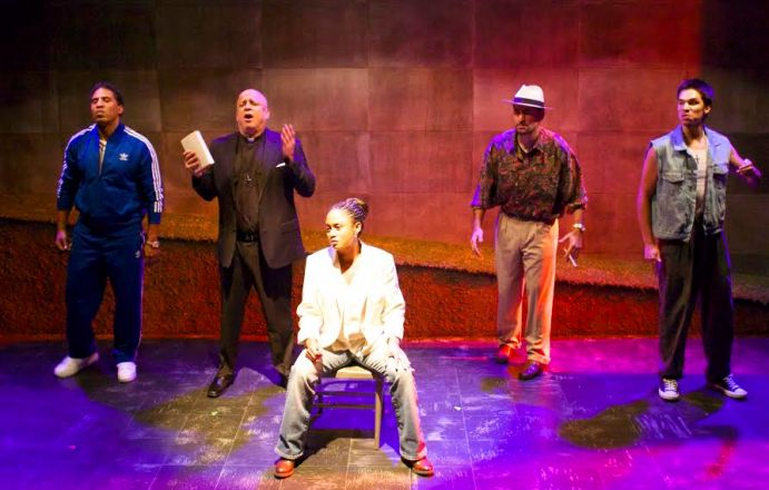 (from l to r) The cast of Cutting Ball Theater's production of 'Superheroes': Myers Clark as Free, Donald E. Lacy as Rev, Delina Patrice Brooks as Aparecida, Juan Amador as Bayuncoso and Ricky Saenz as Nico. Photo Credit: Cutting Ball Theater.