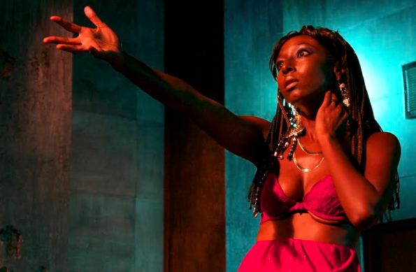"Britney Frazier gives a standout performance as Magnolia in the world premiere of ""Superheroes"" at Cutting Ball Theater. Photo Credit: Cutting Ball Theater."