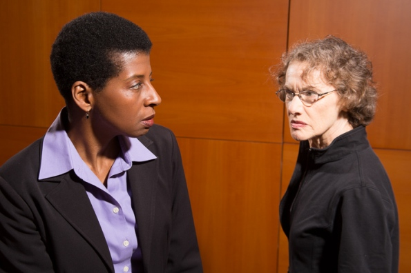 "From l to r: Velina Brown as Ann and Tamar Cohn as Cathy in Theatre Rhinoceros' west premiere of David Mamet's ""The Anarchist"". Photo Credit: David Wilson."