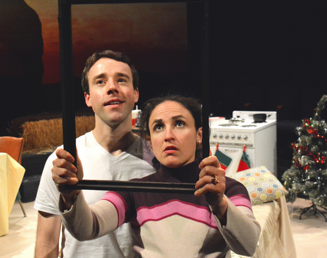 """Crick (Brian Martin) and Mary (Maria Leigh) do not see eye to eye when Crick spends the last of their savings on a painting in Sarah Ruhl's """"Late: A Cowboy Song"""" at Custommade Theatre.  Photo Credit: Jay Yamada."""
