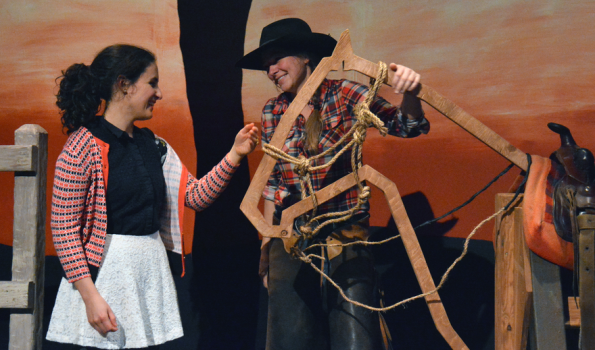 Cowboy, Red (Laren Preston) introduces Mary to a horse and a dream of freedom. (Photo Credit: Jay Yamada.)